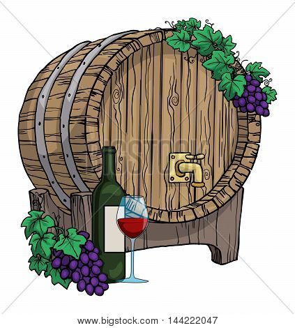 Wine barrel, hand drawn, with grape vines around it, bottle of wine and glass, isolated on white, vector illustration