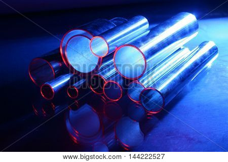 stainless steel pipes in blue and red