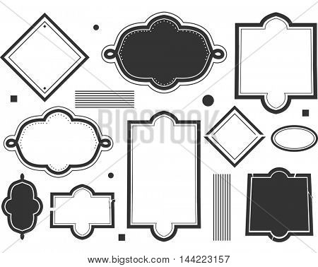 Black and White Stencil Illustration Featuring Blank Labels