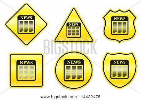 Newspaper Icon on Yellow Designs Original Illustration