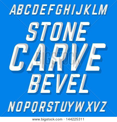 Hand crafted font Stone Carve Bevel. Chiseled block letters on the blue background.