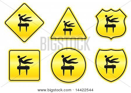 Pommel Horse Icon on Yellow Designs Original Illustration