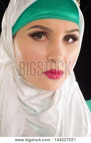 Hijab. The Islamic Headscarf For Women And The General Clothing, Hides Figure, Wrists And Neck Women