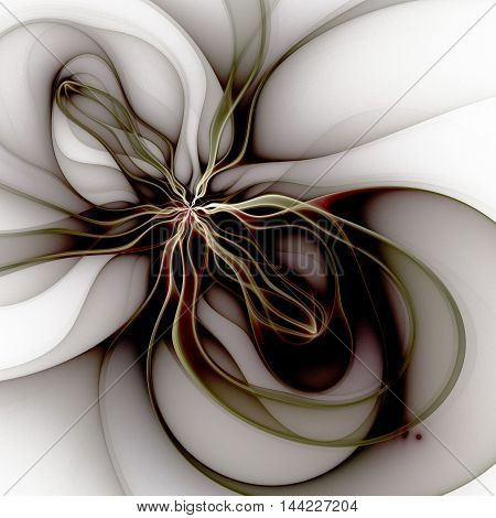 Symmetrical fractal flower digital artwork for creative graphic