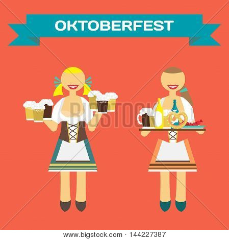 Oktoberfest german women in national costume. Girl waitress with a tray and beer mugs. Vector flat cartoon illustration