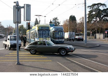 Zurich, Switzerland - November 28, 2011. Expensive car crosses a dangerous crossroads