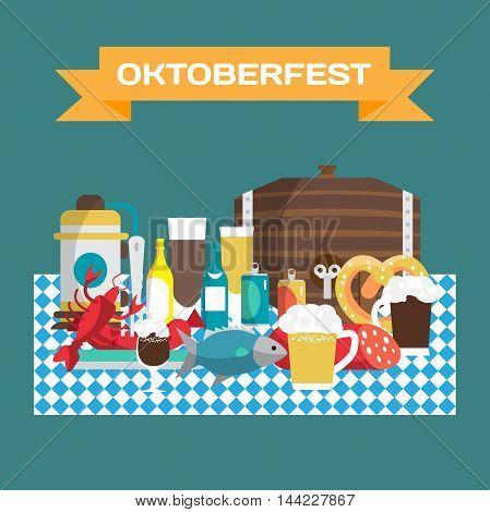 Still life of food and beverages on the rating tablecloths Oktoberfest. Beer mugs bottles barrel sausages ham snack. Vector flat cartoon illustration