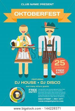 Party invitation Octoberfest flyer. Man and woman in folk costumes. Vector flat cartoon illustration