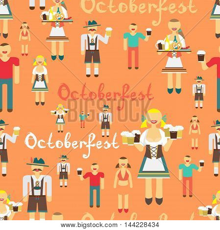 Textile seamless pattern flat cartoon style for Oktoberfest. Men drink beer out of large mugs. German women in national costume. Girl waitress with a tray