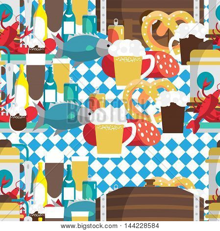 Textile seamless pattern flat cartoon style for Oktoberfest. Food drink beer mug cancer dried fish sausage
