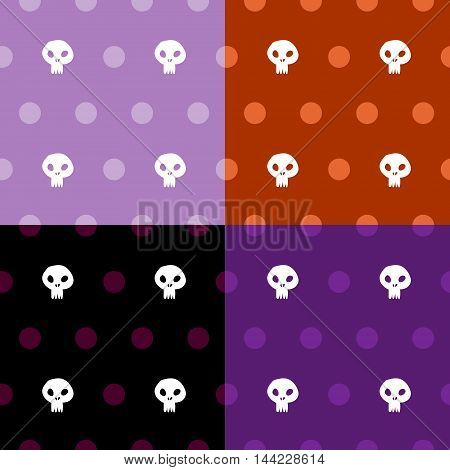 Seamless halloween skull cross polka dots four colours