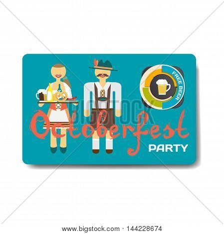 Octoberfest party flyer. Man and woman in folk costumes. Beer free. Vector flat cartoon illustration