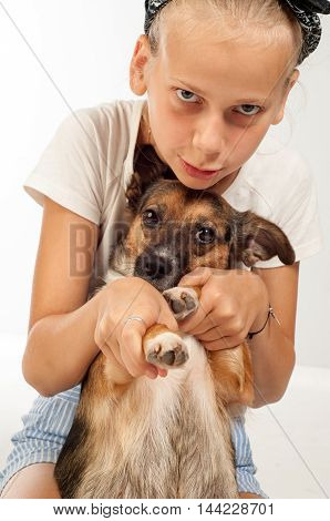 girl and dog. Little girl with dog.