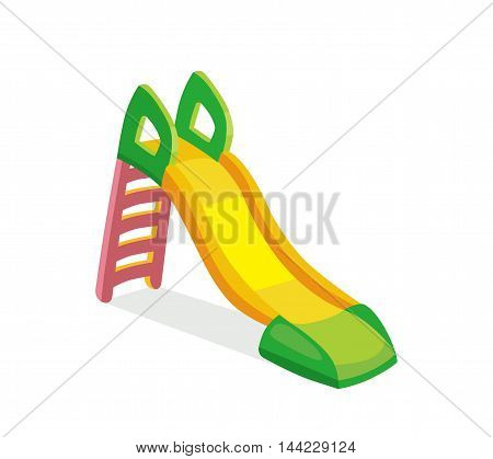 vector illustration of children slide on playground. Picture isolate on white background. Modern flat style