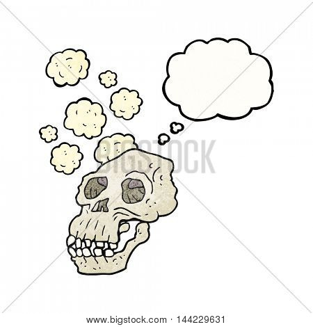 freehand drawn thought bubble textured cartoon ancient skull