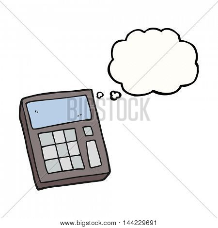 freehand drawn thought bubble cartoon calculator