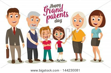 Happy family. Parents grandparents and childs. Color flat vector illustration isolated on beige background. Hand drawn lettering.