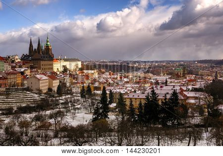 Amazing St. Vitus Cathedral During Winter Day After Heavy Snow Storm With Snow Cover At Roofs. Sunny