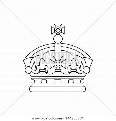 Crown icon in outline style isolated on white background. Power symbol