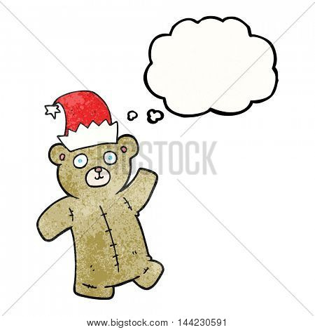 freehand drawn thought bubble textured cartoon teddy bear wearing christmas hat