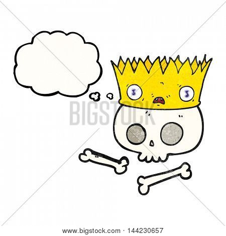 freehand drawn thought bubble textured cartoon magic crown on old skull