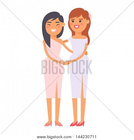 Wedding lesbian couple vector characters