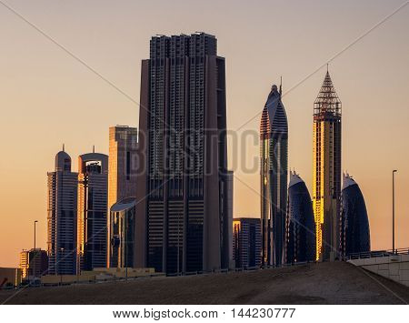 Amazing Tallest Skyscrapers In Sheikh Zayed Road Area During Beautiful Sunset. Downtown Summer Day.