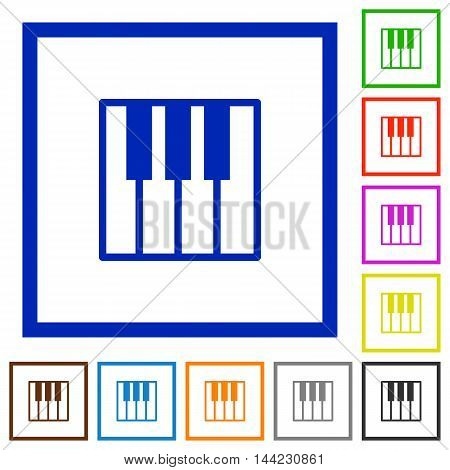 Set of color square framed piano keyboard flat icons