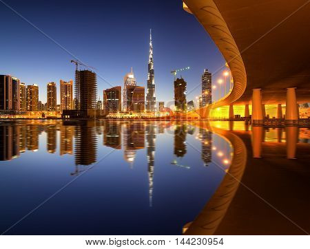 Fascinating Reflection Of Tallest Skyscrapers In Business Bay District During Colorfull Sunset Near