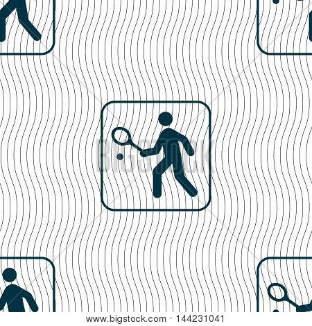 Tennis Player Sign. Seamless Pattern With Geometric Texture. Vector