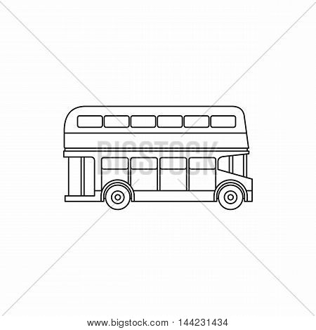 Double decker bus icon in outline style isolated on white background. Transport symbol