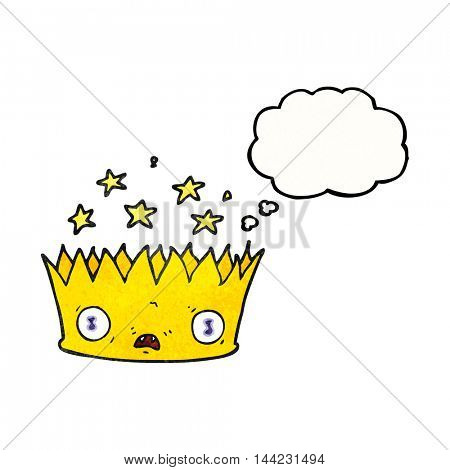 freehand drawn thought bubble textured cartoon magic crown