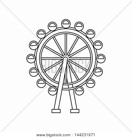 Ferris wheel icon in outline style isolated on white background. Entertainment symbol