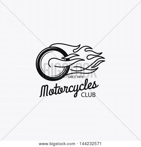 Motorcycle club mono color logotype or motorbike label. Vector illustration