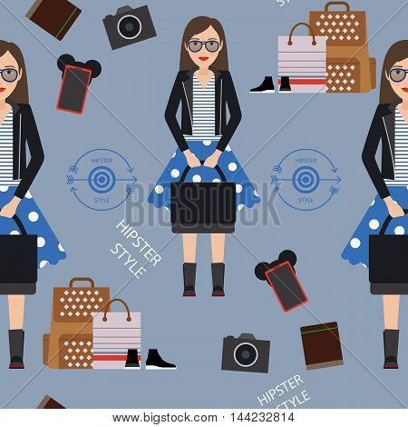 Beautiful girl hipster flat style seamless pattern. Vector illustration