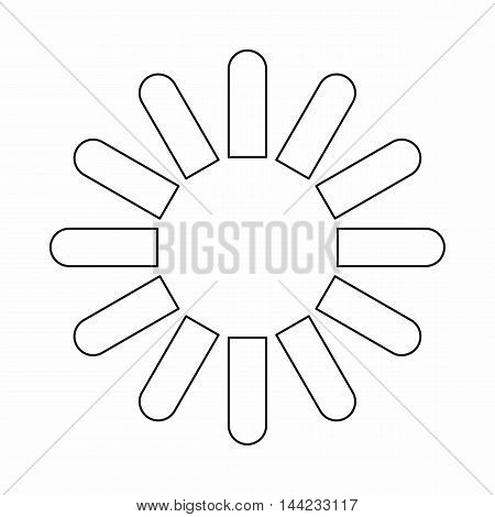 Sign download icon in outline style isolated on white background. Loading symbol