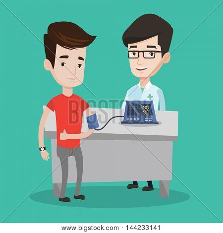 Man checking blood pressure with digital blood pressure meter. Man giving thumb up while medical examination. Doctor measuring blood pressure of patient. Vector flat design illustration. Square layout