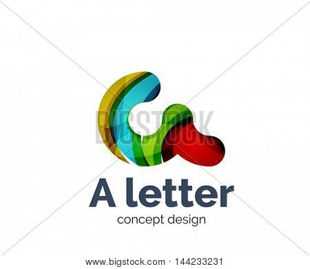 A letter alphabet round style logo business branding icon, created with color overlapping elements. Glossy abstract geometric style, single logotype