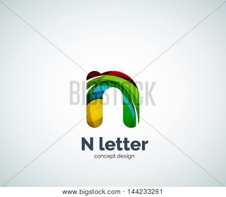 Vector N letter business logo, modern abstract geometric elegant design. Created with waves