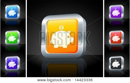 Piggy Bank Icon on 3D Button with Metallic Rim Original Illustration