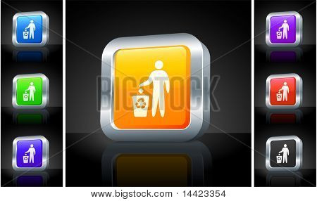 Recycle Trash Icon on 3D Button with Metallic Rim Original Illustration