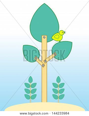 illustration of a yellow bird on the artificial tree.  This drawing means, we need to take care of our environment.  Otherwise, we might have lost trees and animals.