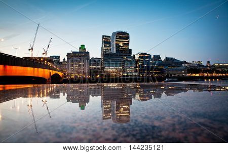 Panoramic view over London - the City across the Thames