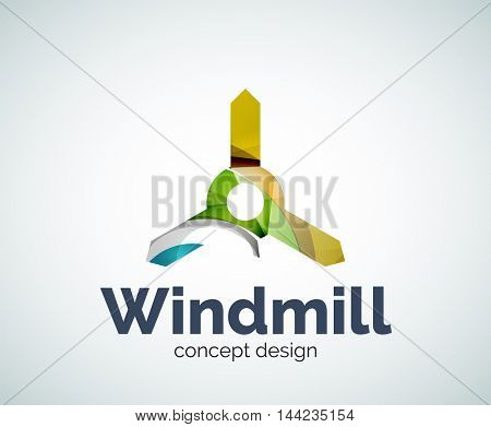 Windmill logo template, abstract elegant glossy business icon