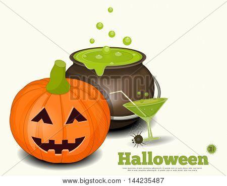 Halloween Card - Pumpkin Green Potion on White Background. Vector Illustration.