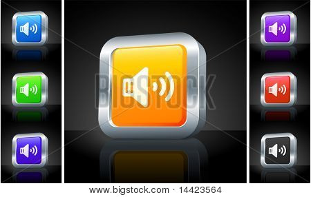 Speaker Icon on 3D Button with Metallic Rim Original Illustration
