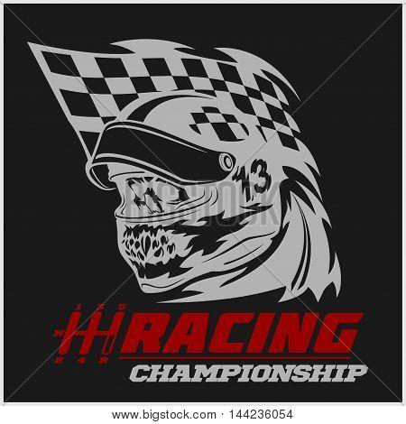Vintage Skull Checkered Flags Racing - vector emblem