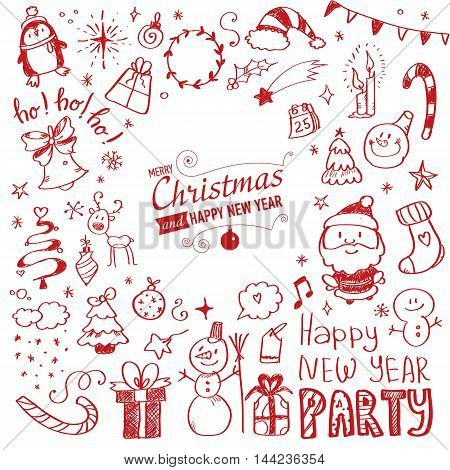 Mega Doodle Design Elements Vector Set. Vector illustration