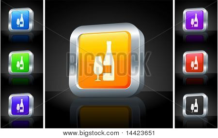 Wine Icon on 3D Button with Metallic Rim Original Illustration