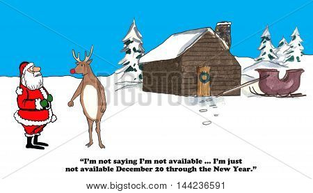 Christmas cartoon about Rudolph wanting to take vacation in late December.